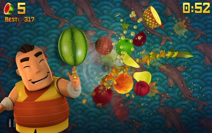 Суть игры - крошить фрукты касанием пальцев