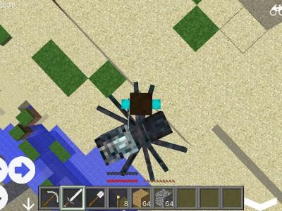 Здесь игрок убивает паука. Вид сверху